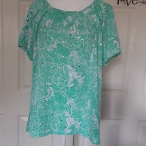 Cathy Daniels Short Sleeve Floral Top